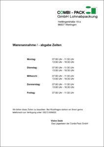 Warenannahme- und Abgabezeiten der Combi-Pack GmbH